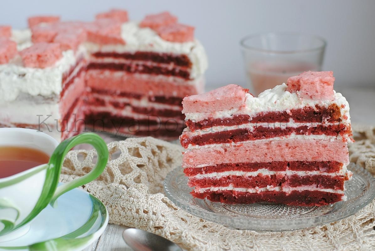Торт «Красный бархат» с клубничным суфле