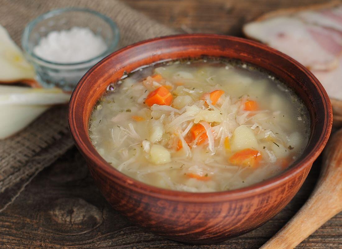 Картофельный суп-толченка с квашеной капустой