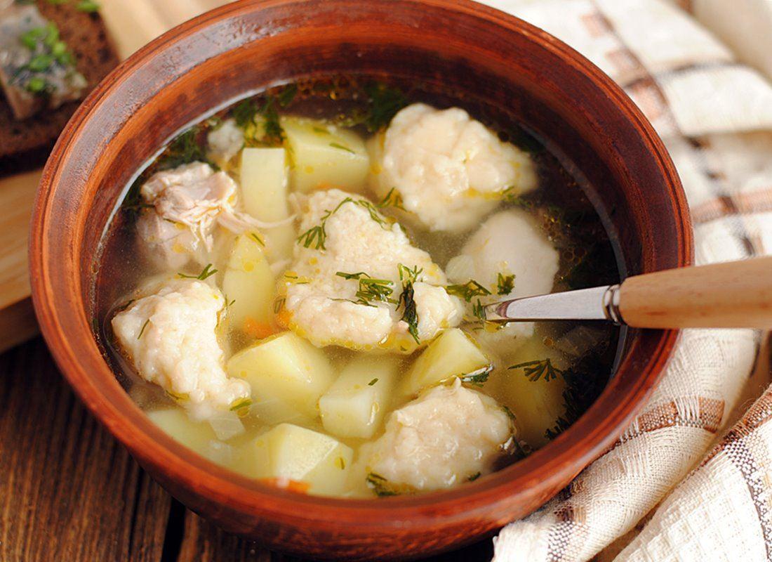 Суп с фасолевыми галушками