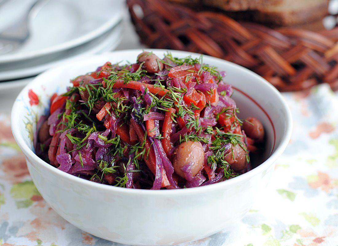 Холодный овощной салат горячим способом