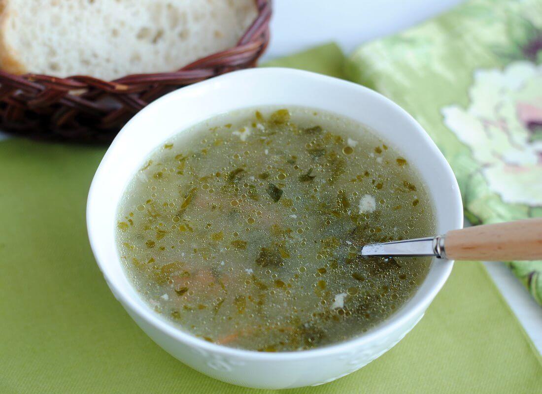 Шпинатный суп с манкой
